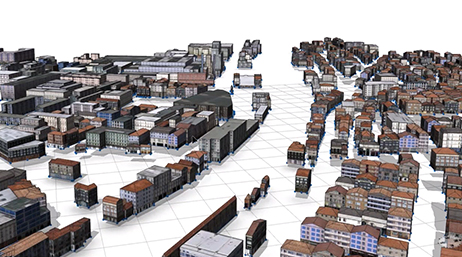 Digital 3D model of a city with a large number of buildings