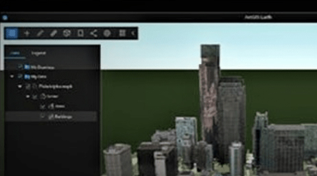 Digital picture of several tall buildings with popup box of ArcGIS Earth tools
