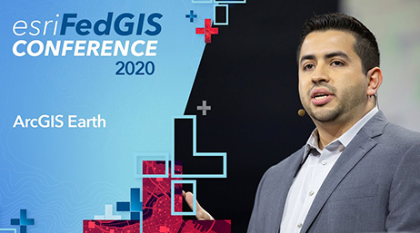 Male speaker wearing a microphone at 2020 Esri FedGIS Conference 2020