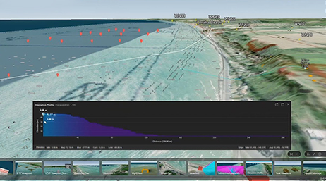 Computer generated recreation of a movie scene on a beach with ArcGIS Earth showing elevation profile