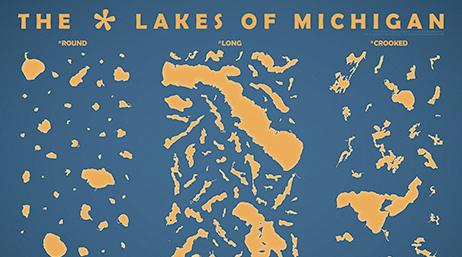 Yellow map of the Lakes of Michigan