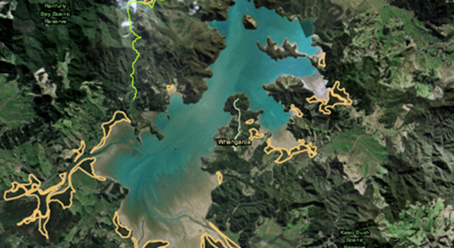3D aerial image of sprawling green land and blue water with yellow lines highlighting different areas