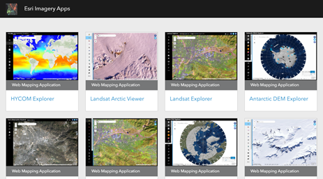 Screenshot of the Esri imagery apps gallery.