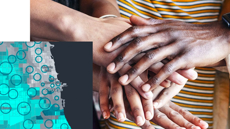A close up of a diverse group of hands placed one on top of the other, overlayed with a square teal and gray map of Chicago, Illinois