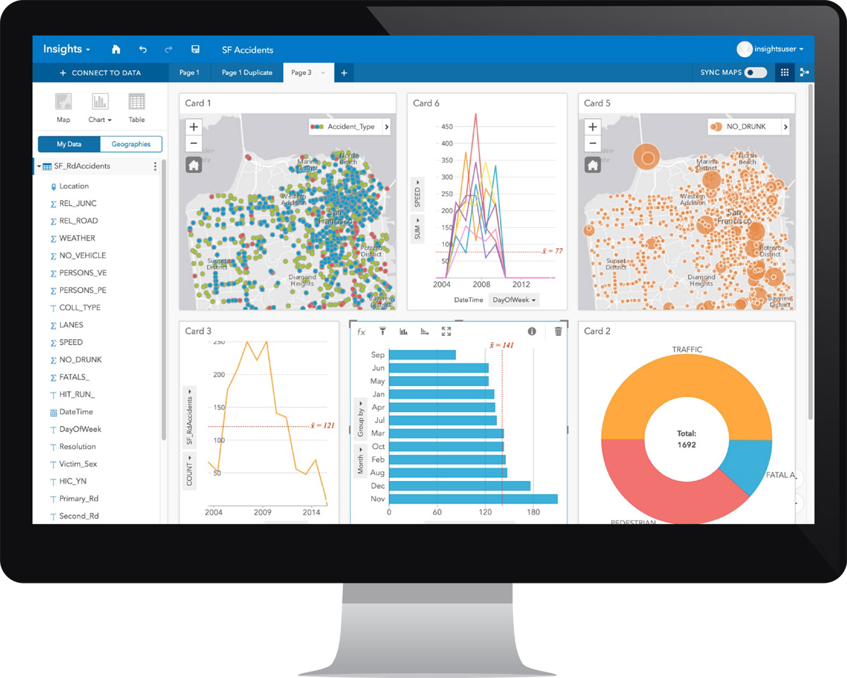 The Insights for ArcGIS interface can host all data—from enterprise data warehouses, ArcGIS data, geodatabases, spreadsheets, and big data.