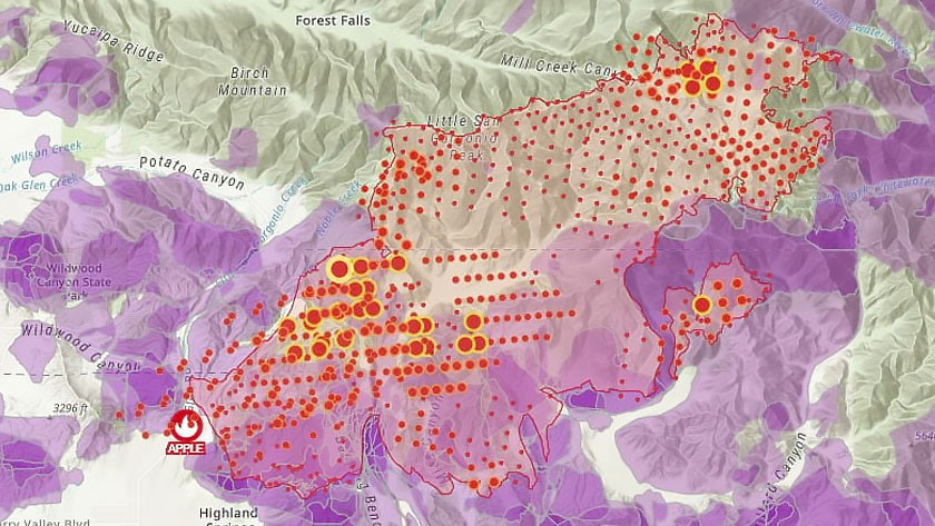 Fire map showing the probable areas of fire spread for a California fire