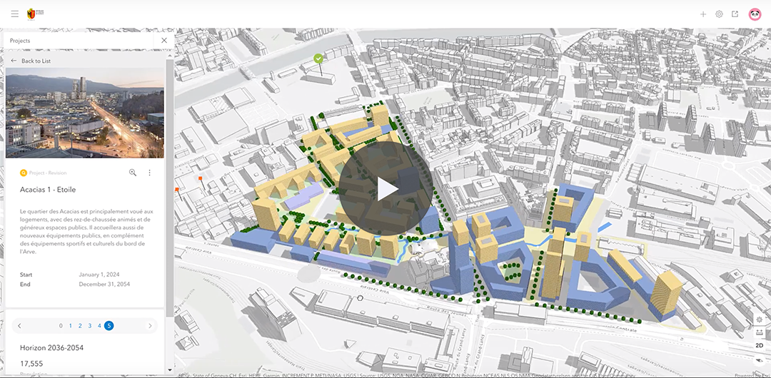 A video of the different phases of the project 'Acacias – Etoile' visualized in ArcGIS Urban.