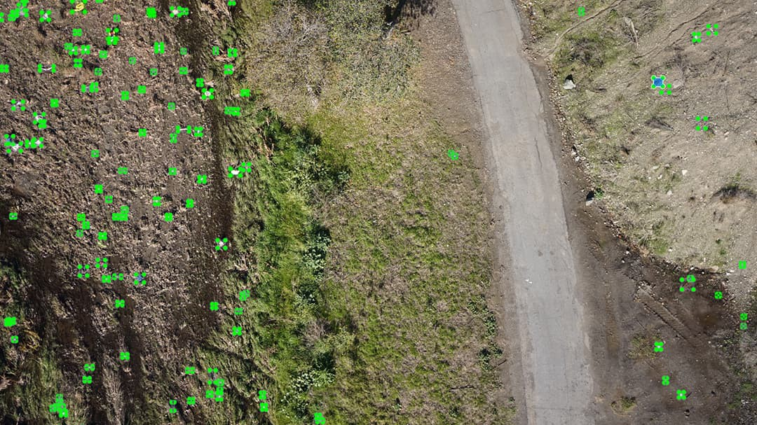 drone image with trash marked in the image