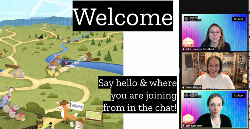 Screenshot of the intro screen for the Openscapes Celebrity Interview. A green cartoon pasture with the word welcome next to the screens of Dawn Wright Julia Lowndes and Erin Robinson
