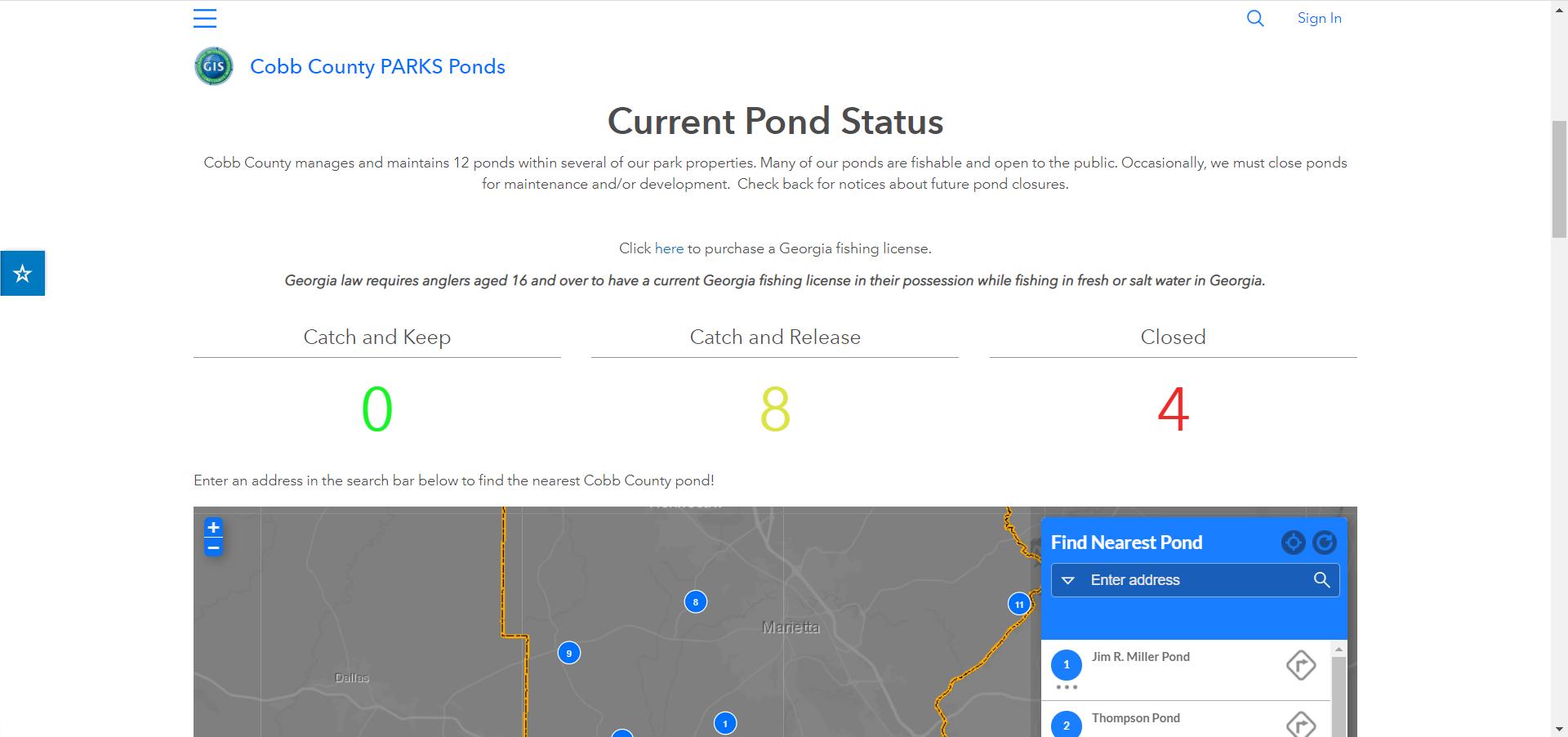 Cobb County PARKS Hub Screenshot