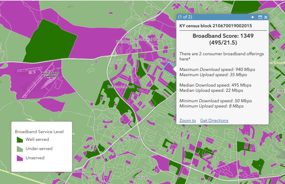 Broadband service level by census tract