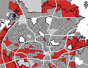 Spatial distribution of neighborhoods with more than 25 percent of the population within the range of 0 to 15 years old. (Courtesy of Neighborhood Association, City of San Antonio.)