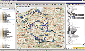 The SunVizion Network Inventory, based on ArcGIS for Server and Microsoft SQL Server platforms, visualizes this IP network.