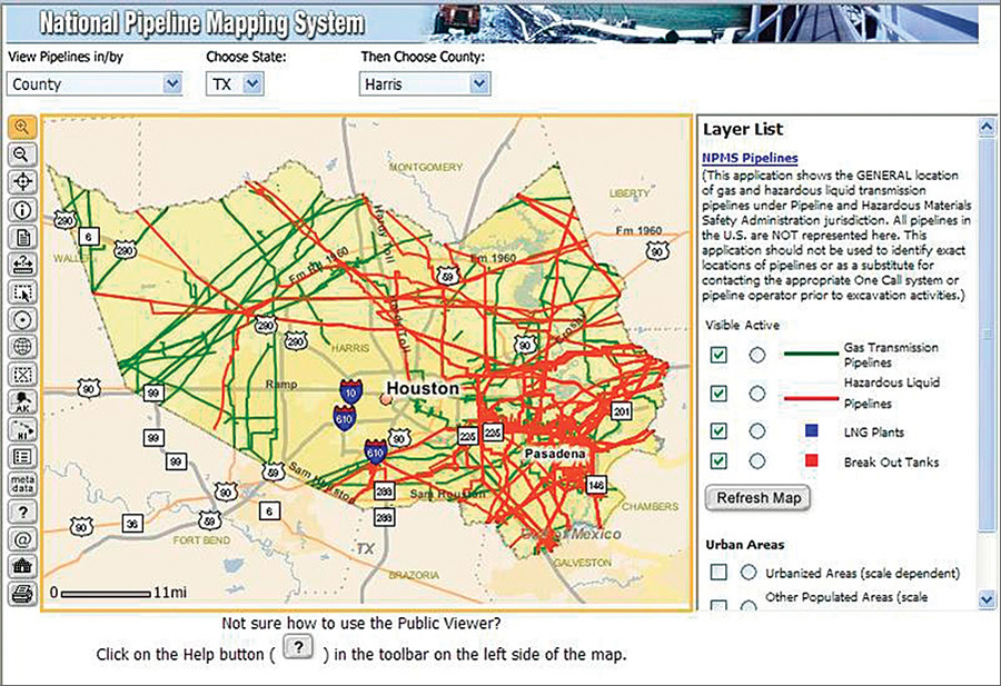 click to enlarge npms public map viewer image showing pipeline