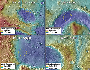 Final four Mars Science Laboratory landing ellipses on THEMIS daytime thermal image mosaic overlaid on MOLA topographic maps.