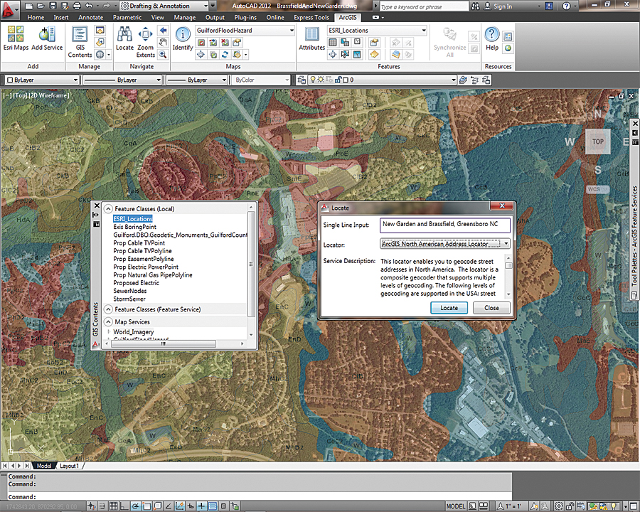 use arcgis for autocad to access a geolocation service and locate place names in your drawing