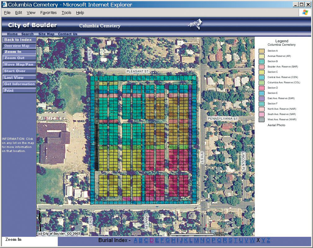 click to enlarge the interactive map of columbia cemetery