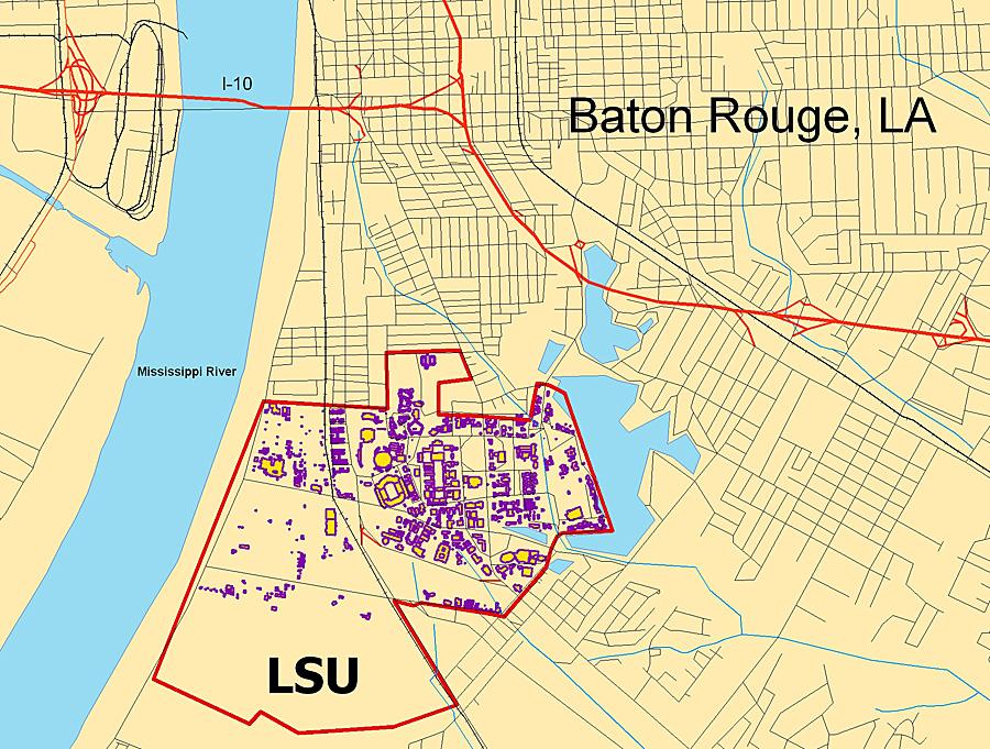 Louisiana State University Map MAP