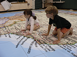 two third graders explore South America