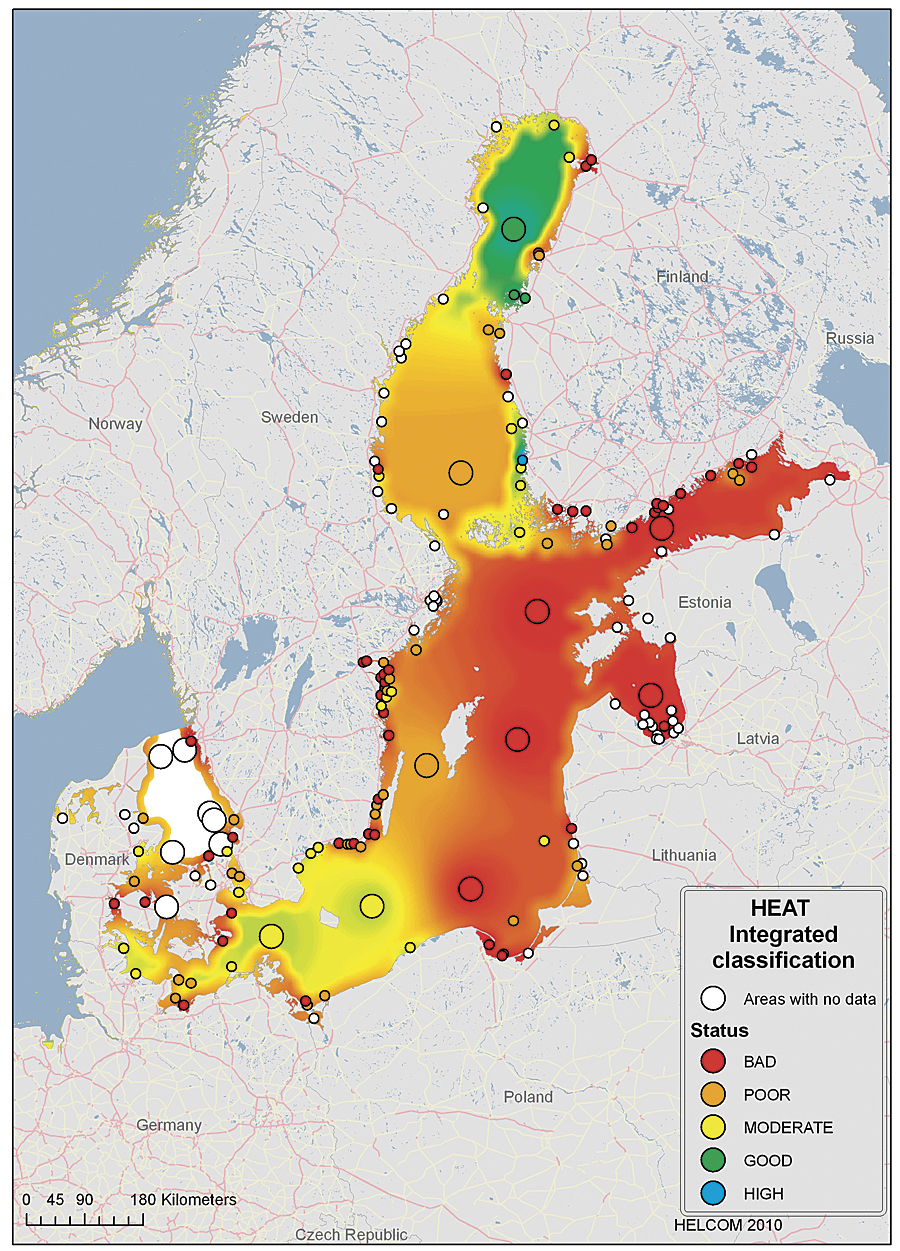 heat integrated classification shows the status of eutrophication in locations around the baltic sea