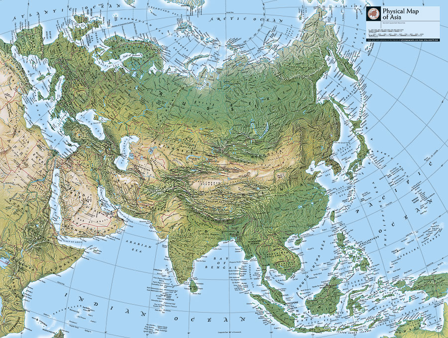 Physical Maps Of Asia And The United States These Maps Contain Place Names And Physical Features On The Landscape Such As Mountain Ranges Rivers