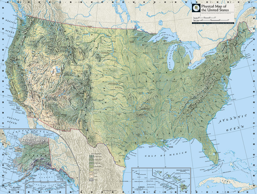 ArcNews Summer  Issue National Geographic Atlas Of The - Us map with geographical features