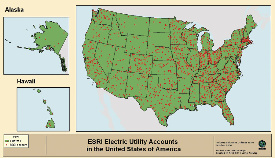 click to enlarge one dot equals one us esri electric utility