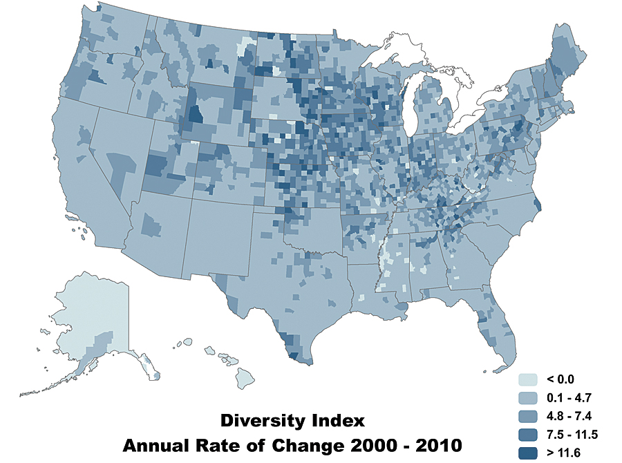 Major Trend Revealed In Census Data ArcNews - Map of diversity in us