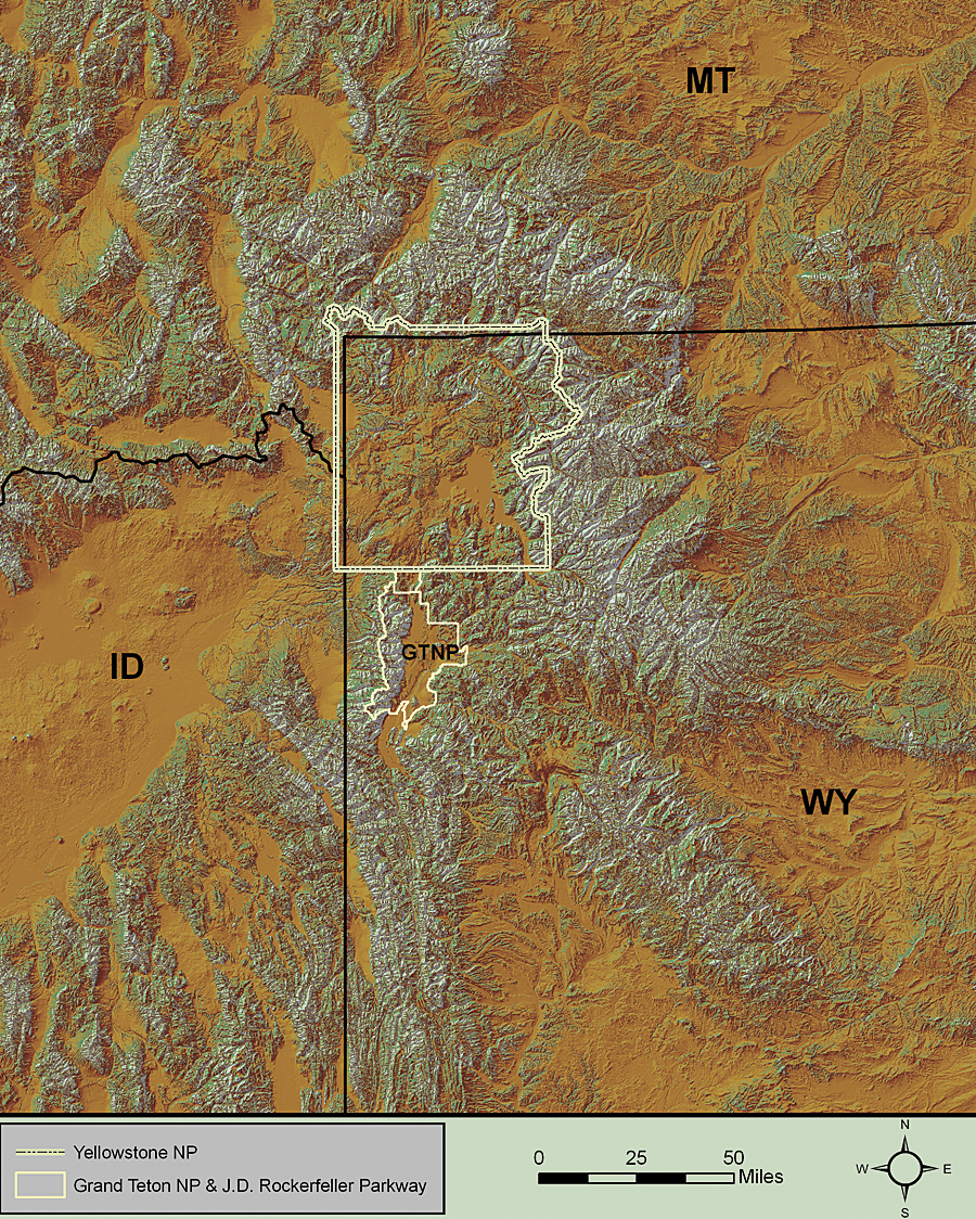 Topographic Map Of Yellowstone.Where The Wild Things Are In Yellowstone Park Arcnews