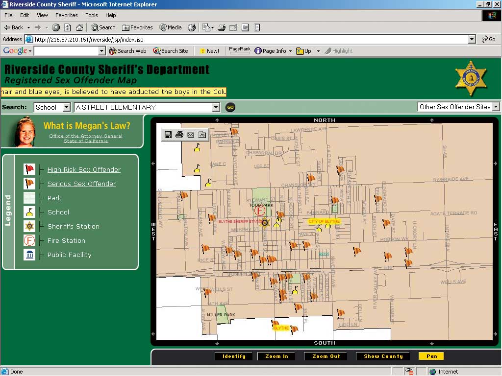 Megans Law Map Online Mapping Assists Megan's Law Notification