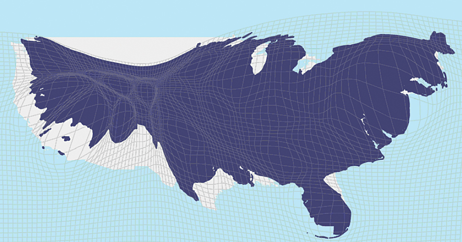 United States Map By Population.Remapping The World S Population
