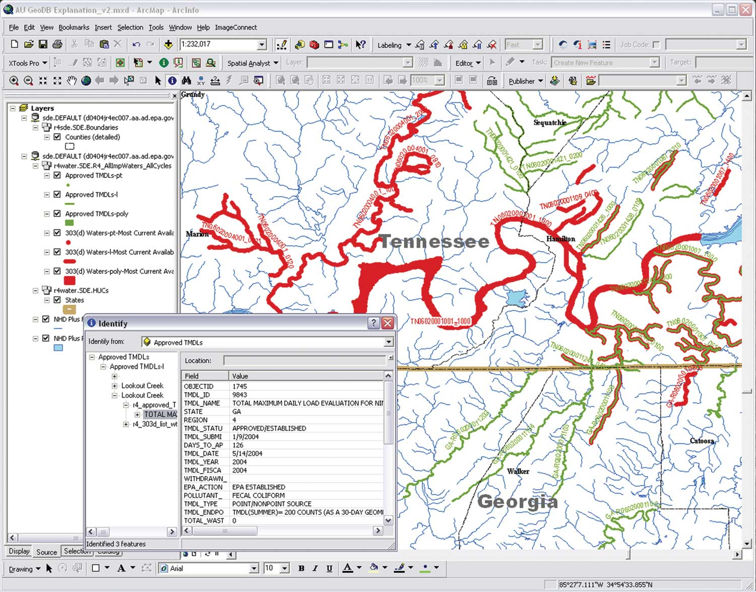 Users Can Use The Identify Tool To Click On A Feature And View Records About Those Features Stored In Related Tables Or Activate The Hyperlink To The Epa