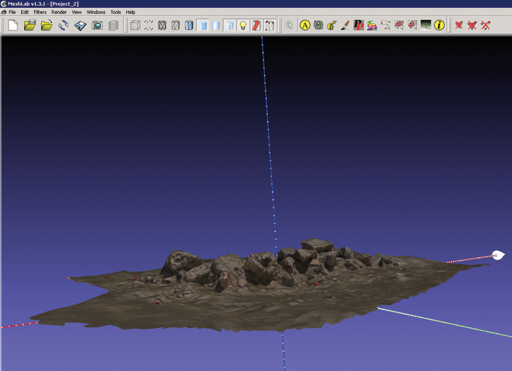 A Textured Mesh Of Typical Archaeological Feature Pile Rubble Viewed In Meshlab Photogrammetric