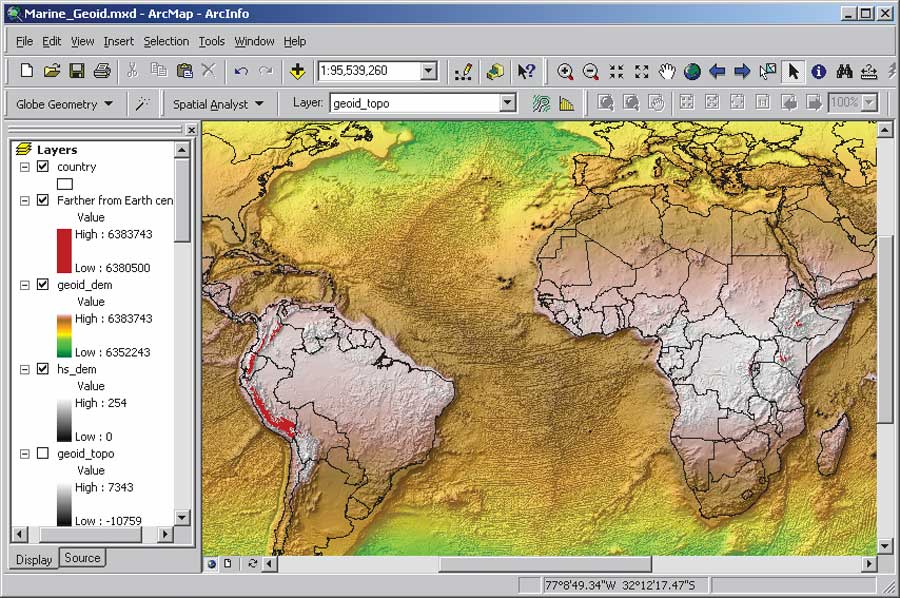 3 mean sea level gps and the geoid the map shows distances to the earths center of mass the areas highlighted in red represent mountains that are the farthest from the center of mass on the gumiabroncs Images