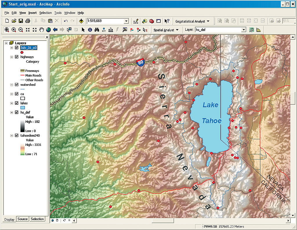 1 automating the use of geostatistical tools for lake tahoe area study a reference relief map showing the terrain surrounding lake tahoe the original ozone monitoring station locations used to study air pollution in the area sciox Image collections
