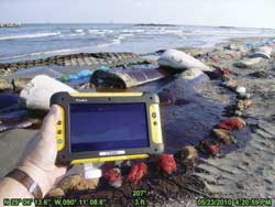 photo of mobile GIS in use at the beach