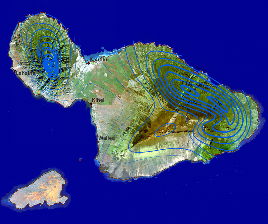 Topographic Map Of Maui.Esri Arcwatch February 2007 Feature Article