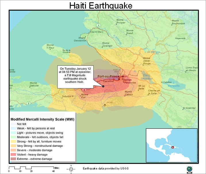Esri arcwatch march 2010 how gis is helping in haiti usgs map shows extend of earthquake damage gumiabroncs Image collections