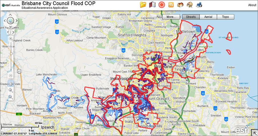 Bcc Flood Maps Esri ArcWatch June 2011   Online Maps Give Australian City