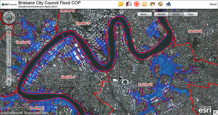 the bcc flood cop shows the flood extent and bcc operational sectors on top of a basemap provided by map data services