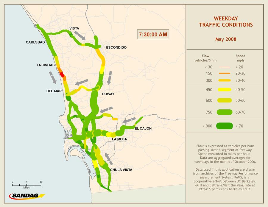 Esri Arcwatch July 2009 Visualizing Freeway Traffic In The San