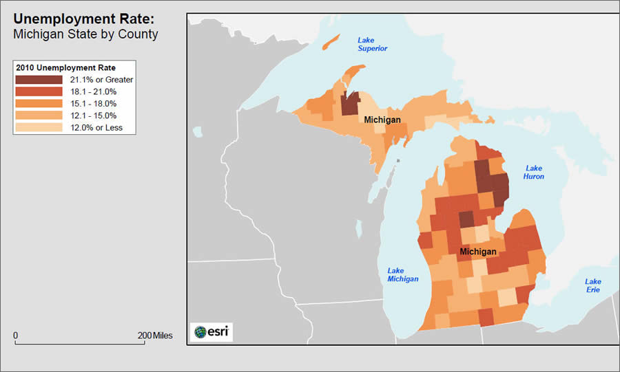 Map Of Michigan Unemployment By County See Enlargement