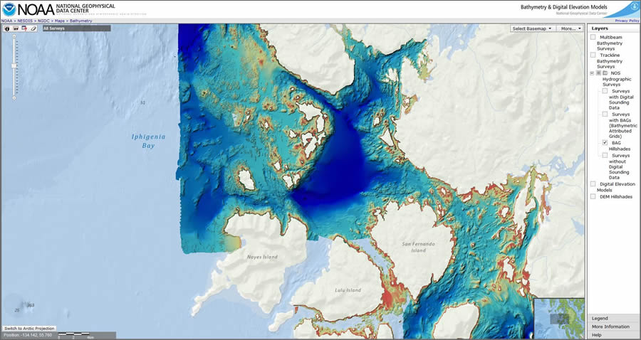 Sea Floor Elevation Data : Visualizing bathymetric data using the esri ocean basemap