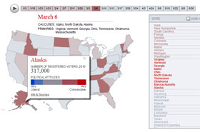 2012 Presidential Primary Election Calendar Map with Dates