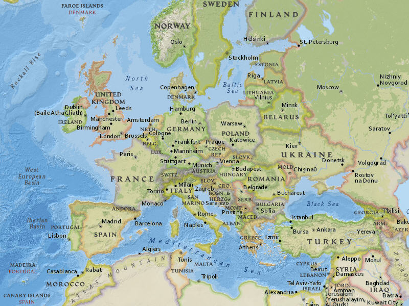 Esri releases national geographic world basemap this section of the national geographic world map shows europe at a small scale gumiabroncs Image collections