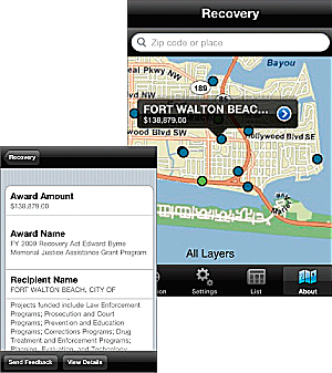 Mobile Application Illustrates US Recovery Projects