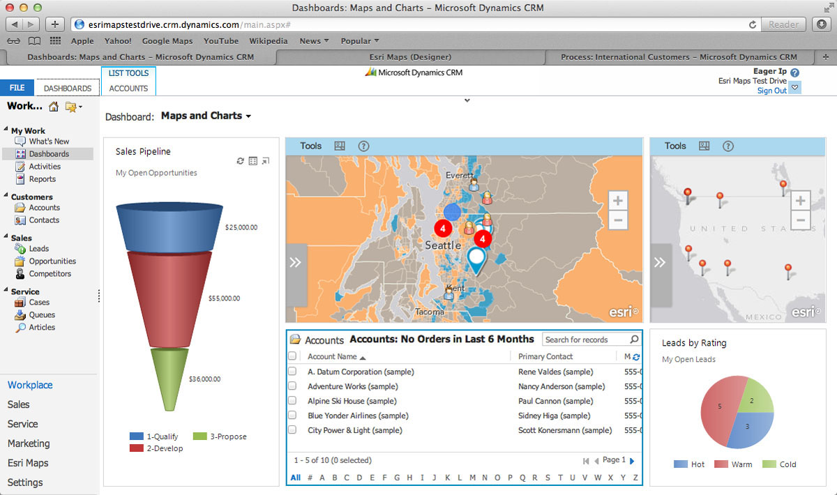 Esri Maps for Microsoft Dynamics CRM adds a location perspective to business information.