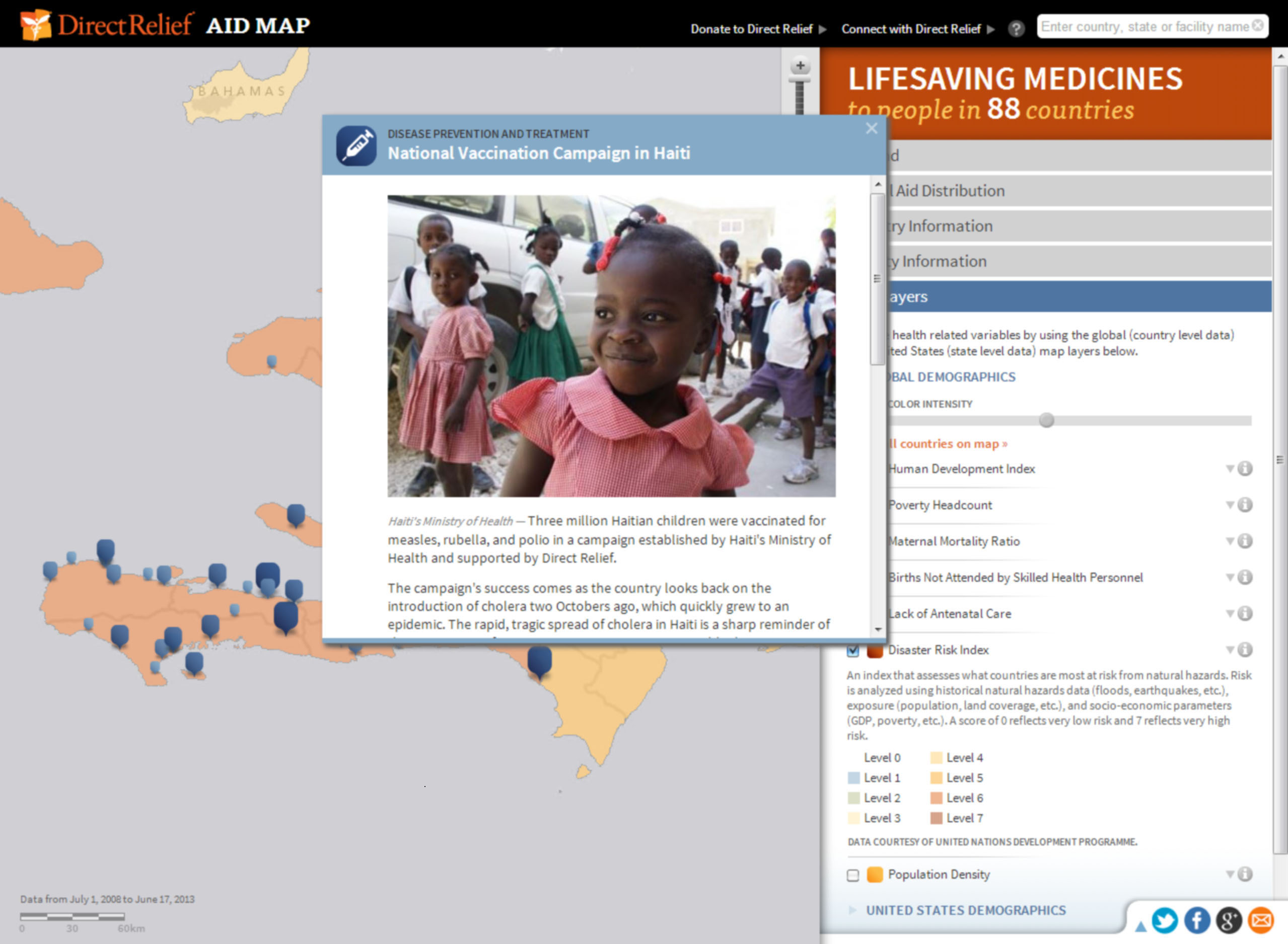 Direct Relief's interactive AidMap documents its humanitarian efforts in more than 70 countries.