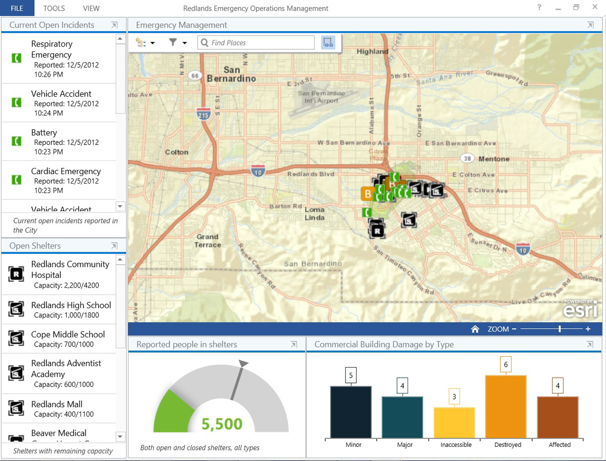 The new Windows-based Operations Dashboard for ArcGIS application leverages responsive maps and dynamic data to create operational views including charts, lists, gauges, and indicators that update automatically as underlying information changes.