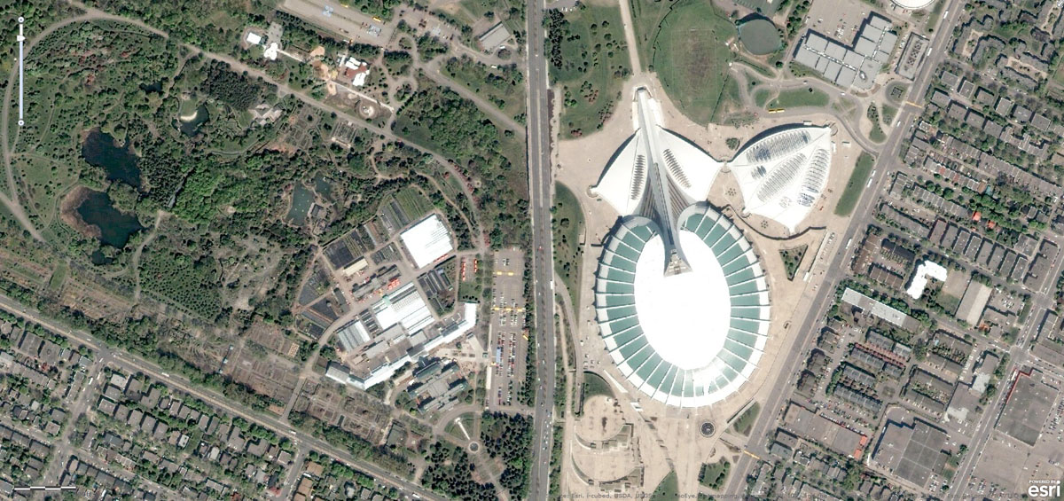 Olympic stadium and Botanical Garden in Montreal, Canada.